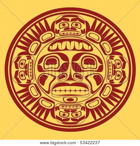 vector sun symbol, stylization of northwest art