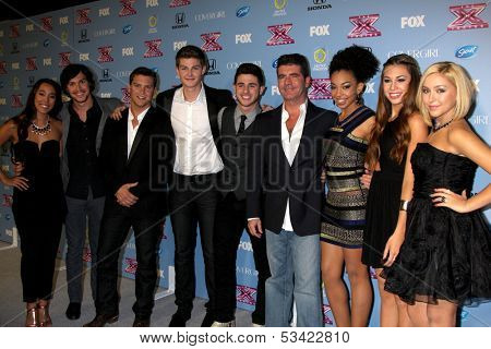 "LOS ANGELES - NOV 4:  Simon Cowell, Alex & Sierra, Restless Road, Sweet Suspense at the 2013 ""X Factor"" Top 12 Party  at SLS Hotel on November 4, 2013 in Beverly Hills, CA"