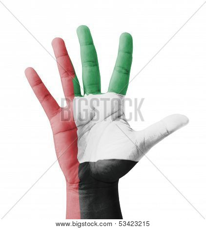 Open Hand Raised, Multi Purpose Concept, Uae flag Painted - Isolated On White background