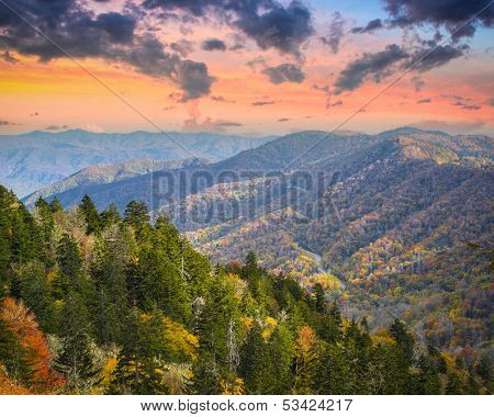 Autumn morning in the Smoky Mountains National Park.