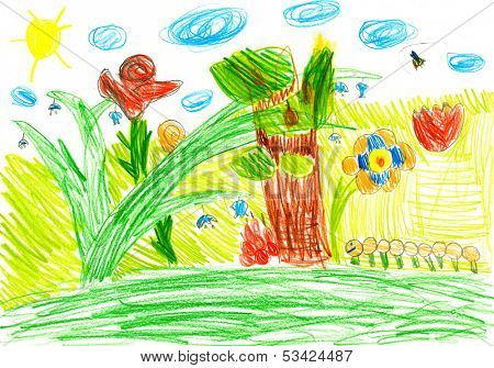 macro life on a summer meadow. child's drawing.