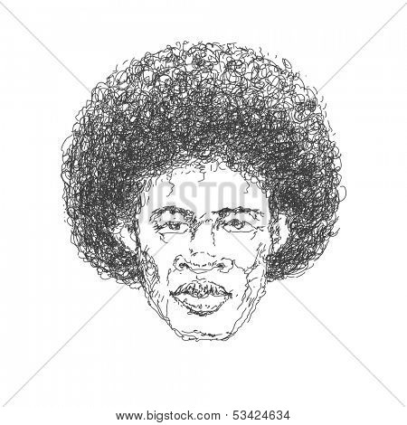 Afroamerican man. Hand drawn. Vector eps 8