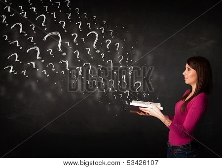 Confused woman reading a book with question marks coming out from it