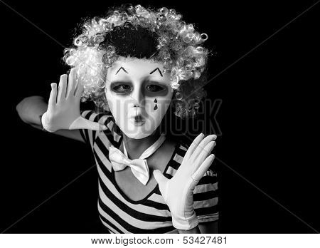 Scary Mime Wearing Mask And Clown Wig