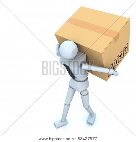 3d business man with cardboard boxes in his hand