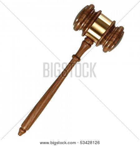 A wooden judge gavel isolated on white background