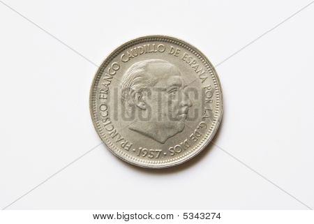 Spanish 50 Pesetas Coin (obverse)