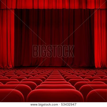 theater or cinema curtain or drapes with red seats