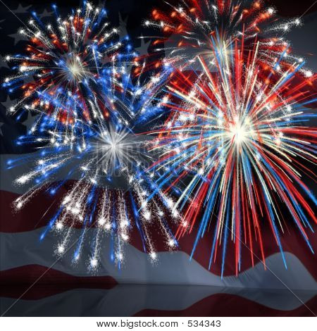Fireworks Over Us Flag 3