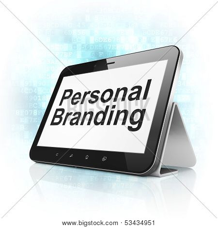 Advertising concept: Personal Branding on tablet pc computer