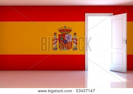 Spain Flag On Empty Room