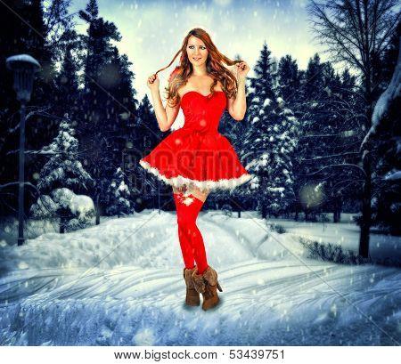 Christmas Card Desighn Sexy Woman