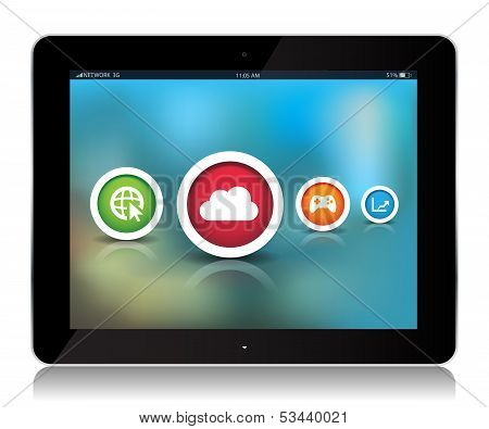 Tablet App Icons On Abstract Background