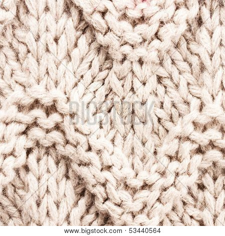 White Knitting Background Texture. Knit Woolen Fabric Textile Multicolor Back.