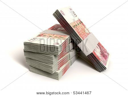 British One Hundred Pound Notes Bundles