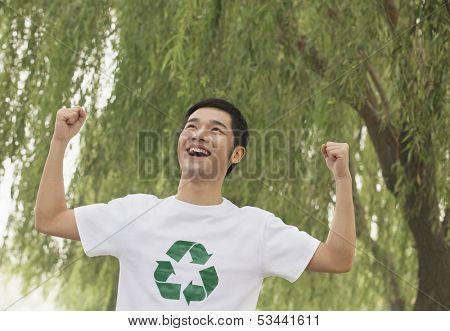 Young Man Smiling, Recycling Symbol, Beijing