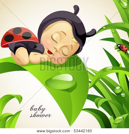 Newborn child dressed as ladybug