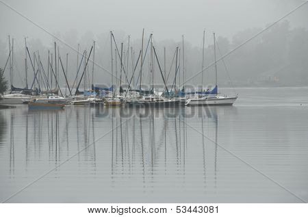 Sailing boats in the winter quarters