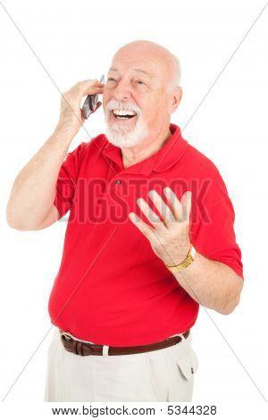 Homem sênior em conversa de celular