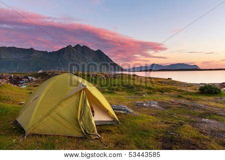 camping in Lofoten island,Norway
