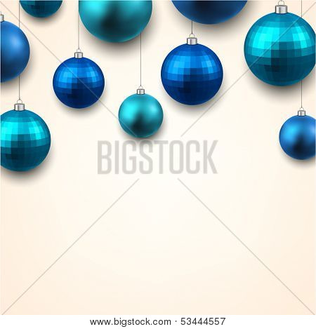 Christmas gift card with blue decorative balls. Vector illustration.