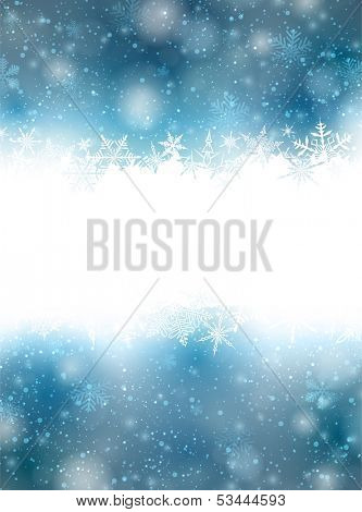 Winter blue background with crystallic snowflakes. Christmas decoration. Vector.