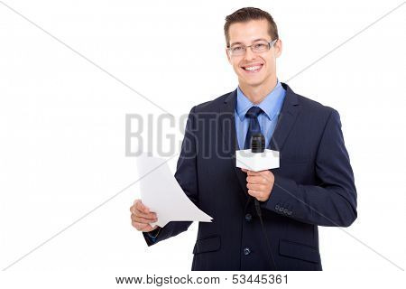 handsome newsreader reading the news over white background