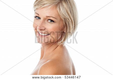 Attractive Aged Lady Facing Camera