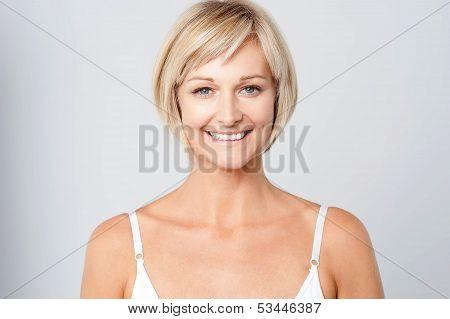 Smiling Cute  Lady Facing Camera