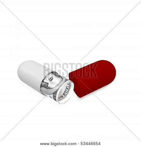 Money In Open Pill Capsule
