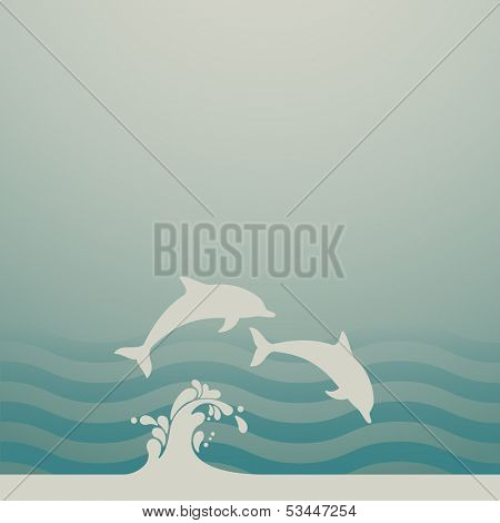 Two dolphins, eps10 vector