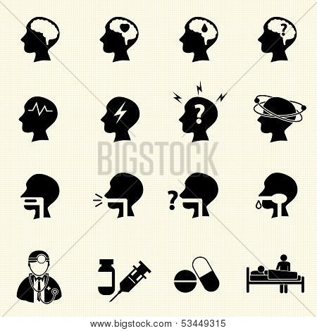 Brain and respiratory icons with texture background.