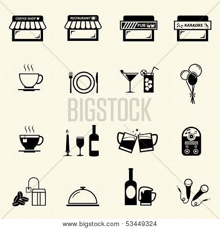 Cafe and Restaurant icons.