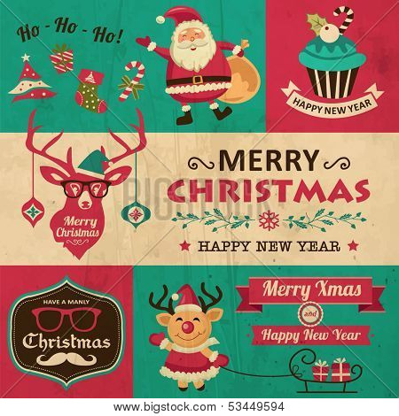 Vector collection of vintage Christmas symbols, icons and hipster elements