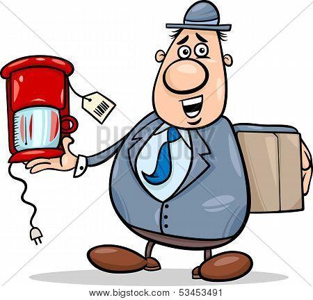 Salesman With Coffee Maker Cartoon