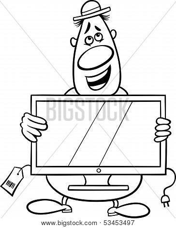 Salesman Cartoon Coloring Page