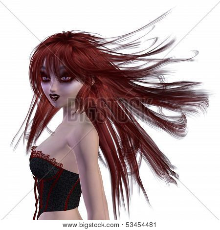 3D Girl In Black Corset