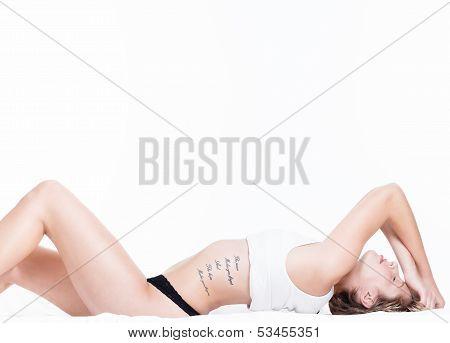 Sensual Beautiful Woman On Bed