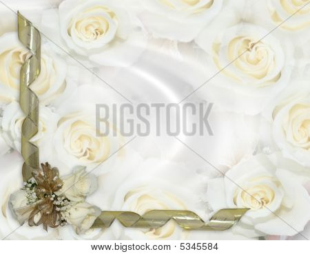 Wedding Invitation White Roses Gold Ribbons