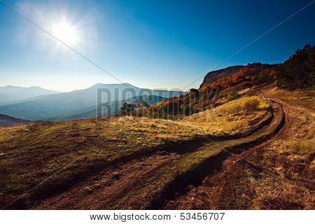 Beautiful Morning Landscape In The Autumn Mountain. Crimea, Ukraine