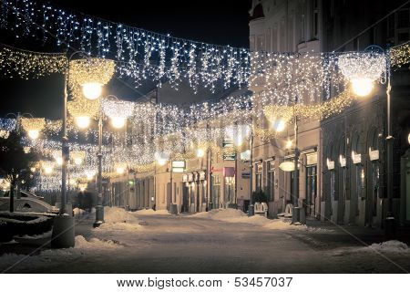 City Decorated By Christmas Illumination, Rzeszow, Poland