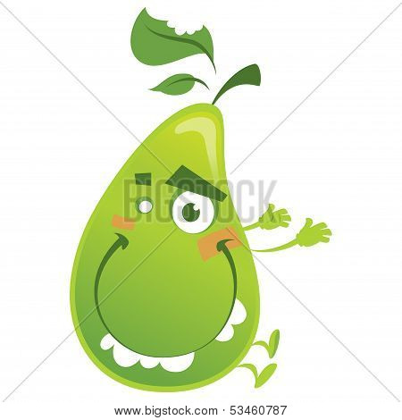 Crazy Cartoon Green Pear Fruit Character Jumping Funny
