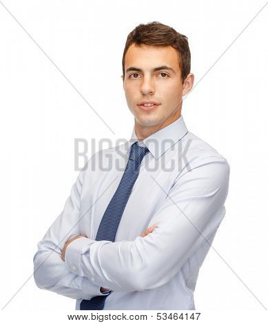business and office, people concept - friendly young buisnessman