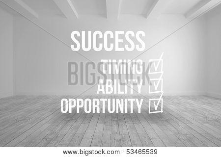 Success checklist written on room background
