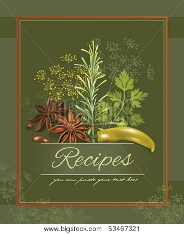 Design template with herbs and spices composition. Vector illustration.