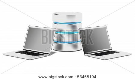 Database Concept with Laptops