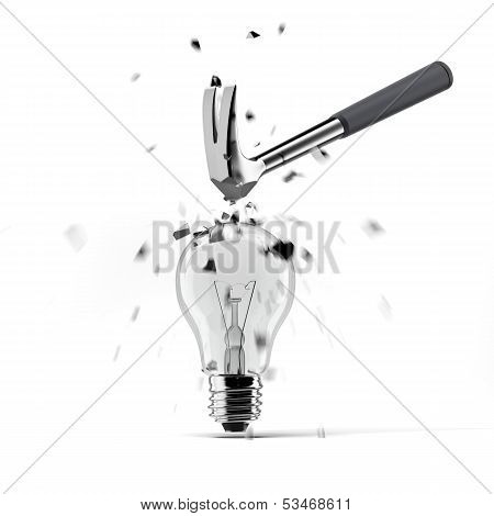 hammer crashing on light bulb