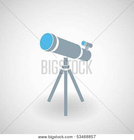 Simple icon of 3d telescope