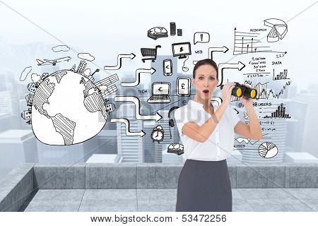 Composite image of astonished elegant businesswoman holding binoculars while posing on white background