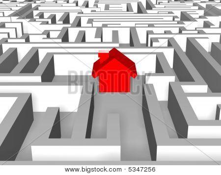 Rotes Haus im labyrinth